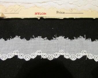Vintage White Embroidered  Lace, Vintage Lace, Vintage Sewing Supplies, Vintage Craft Supplies, Vintage Wedding Lace, Vintage Bridal Lace