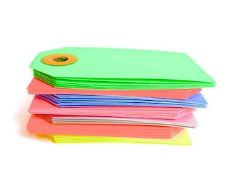 Neon Tags |  Fluorescent Parcel Gift Tags 10 pack. More Colors | Gift Labels Merchant Tags Manila Tags | Spring Cleaning Orhanization