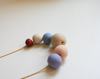 Soft colors beads necklace -ligth blue, pale pink, garnet- round beads polymer clay- pastel color- geometric necklace