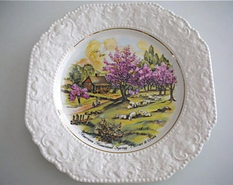 """Currier & Ives """"American Homestead Spring"""" Lord Nelson Plate England Plate Cherry Blossom and Lamb  from The Back part of the Basement"""