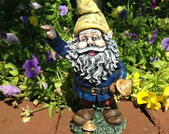 Concrete Garden Gnome Yellow & Blue Statue