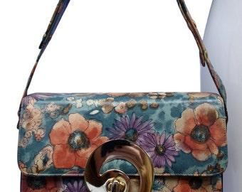 VARON Vintage 70s Flower Print Leather Handbag/Shoulderbag