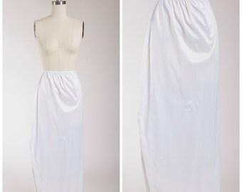 1960s Vintage Half Slip • Heaven's Door • Nylon Lace 60s Full Length Slip Size Small
