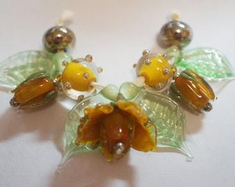 Handmade Lampwork Flowers/ Rosebud/Leaf Glass Beads - Amber Brown