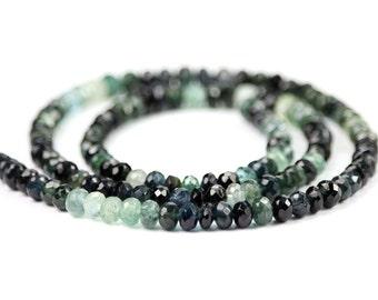 Tourmaline Micro Faceted Rondelles 5 Pieces Shaded Blue Blue/Green Green Indicolite Semi Precious Gemstone