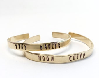 Tiny Dancer Cuff Bracelet - Brass or Copper, Music Gypsy Bohemian Monogram Gift, Stamped Custom Personalized Word Handmade Deco, Elton John