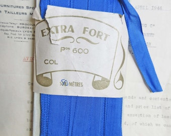"4 yards Antique/Vintage Electric Blue Rayon French Ribbon Trim 9/16"""