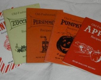 Vintage 5 Bear Wallow Cookbooks Persimmon Zucchini Candy Pumpkin & Apple Recipes
