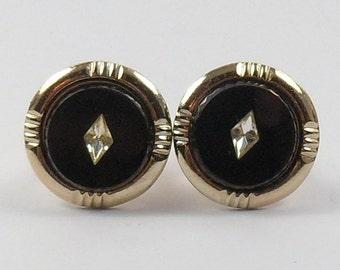 Sale Round Cufflinks Black Gold Tone Rhinestone Men's Jewelry Vintage 1950s