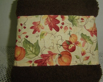 Pumpkins/apples/autumn leaves on chocolate brown hand/dish towel, fall autumn decor, rust, orange, green, 100% cotton terry towel, under 10