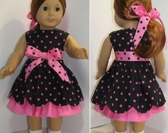 """Pattern for Scallops Galore! Dress and Underskirt for 18"""" dolls such as American Girl"""