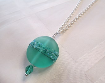 Lampwork Bead Necklace in Spearmint Green