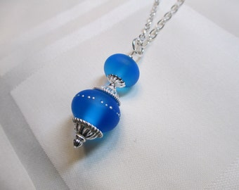 Double Lampwork Bead Necklace in Royal Blue