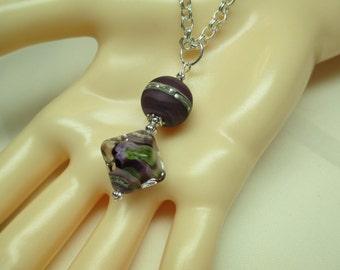 Lampwork Bead Pendant Necklace in Deep Purple