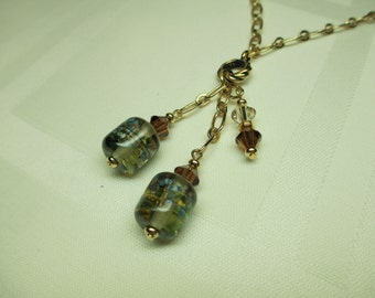 Lampwork Bead Necklace in Neutral Hues