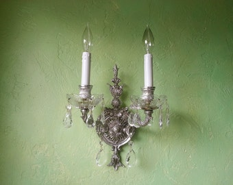 Vintage Sconce, Silver Gilt and Crystal, Custom Colors and Finish Available