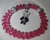 Big Gothic Bear Charm-Hot Pink with White Pearl -Beaded Stretch Bracelet  (138)