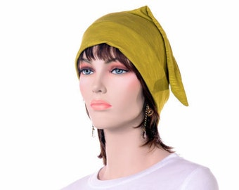 Chartreuse Leaf Green Elf Hat Modal Nightcap for Man Woman Pointed Tip Knit Sleep Hat Ultra Lightweight