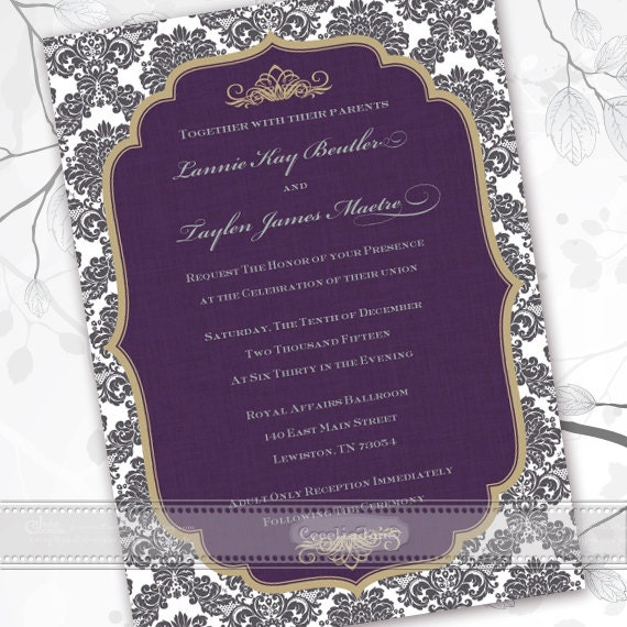 wedding invitations, thank you cards, eggplant wedding invitations, plum wedding invitations, bridal shower invitations, plum wedding, IN444