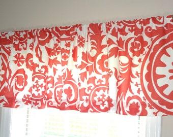 SALE Curtain Valance Topper Window Treatment 52x15 Coral White Suzani Print Valance