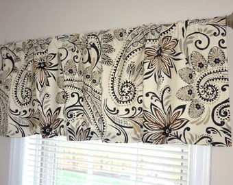 Curtain Valance Topper Window Valance 52x15 Grey Brown Ivory Floral Valance