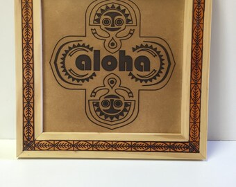 Hand Carved Sunshine Aloha Tiki Wall Plaque