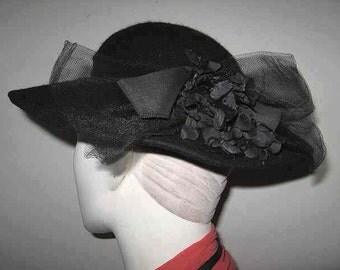 Vintage Black Wool Felt Hat Medium Brim Ribbon Bow Net Shallow Crown