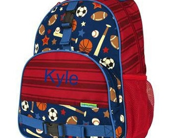Personalized Boys Backpack Stephen Joseph ALL OVER Elementary style Sports
