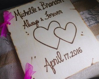 Handmade Custom Wedding Guest Book Wood Personalized Rustic Chic Wedding Farmhouse Chic Romance Carved Names & Hearts Woodland