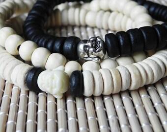 Buddha Bracelet, Buddha Jewelry, Mens Bracelet, Mens Jewelry, Beige Bracelet, Ivory Bracelet, Mens Beaded Bracelet, Coconut Bracelet