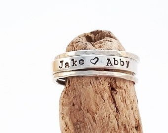 Personalized Ring - Name Ring - Sterling Silver Mom Ring - Personalized Stacking Rings - Hand Stamped custom rings - Stacking name rings