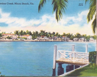 Miami Beach, Florida, Indian Creek - Linen Postcard - Unused (NN)