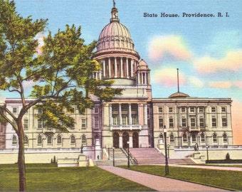 Providence, Rhode Island, State House - Linen Postcard - Unused (KK)