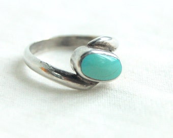 Turquoise Ring Size 6 Vintage Simple Southwestern Jewelry Sterling Silver Blue Stone