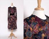 Vintage 80s Long Sleeve Knee Length Pattern Dress