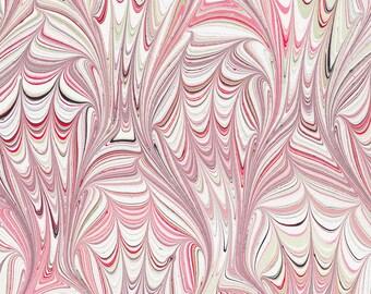 Marbled Paper | Pink Frog Foot Pattern | Original Handmade | Art on Water | Bookbinding | Endpaper | Marbling | Paper Craft | Scrapbooking