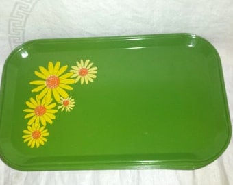 Vintage Mod (10) Metal Trays w Daisies Lunch Tray Restaurant