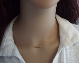 14k Gold Bar Necklace, Simple small thin line dash layering necklace. Minimalist gold jewelry