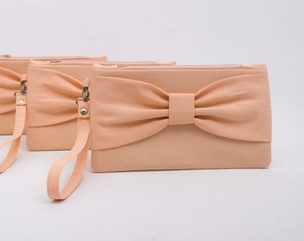 Evening clutch,bridesmaid clutch , peach apricot  bow wristlet clutch -Set of 1,2,3,4,5,6,7,8,9,10,11,12, Piece 9.90