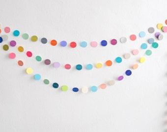 Multicolored Circle Garland, Paper Circle Garland, , Party Garland, Photo Prop, Birthday Garland, Rainbow Garland