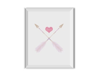 Love, Crossed Arrows, Tribal Arrows, Arrows, Feathers, Pink Purple Nursery Decor, Inspirational Print, Nursery Art Prints, Children's Art