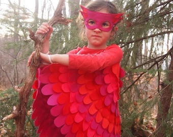 Pink + Red OWL // Soft flappable wings with mask! Made from recycled plastic bottles, eco-friendly, all US made materials