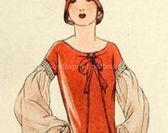 "1920s dress sewing pattern ""l'Echo de Paris"". Wear this stylish dress with flattering sleeves and you're a flapper!"