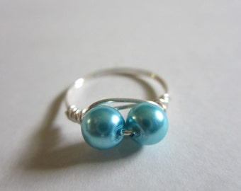 Aqua Blue Glass Bead Wire Wrapped Ring Size 8