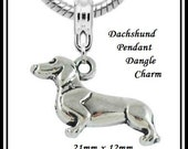Cute - DACHSHUND Hound Sausage Weiner DoG - PeT LOVER - Silver Plated Dangle Charm Bead - fits European Bracelets - MD