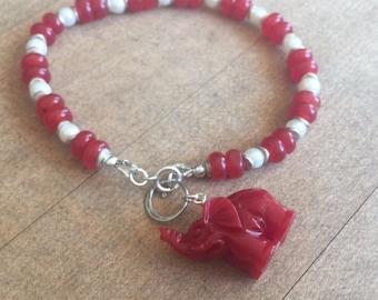 Red Bracelet - Elephant Charm - Jade Jewelry - Sterling Silver - White Pearl Jewellery - Roll Tide - Bama