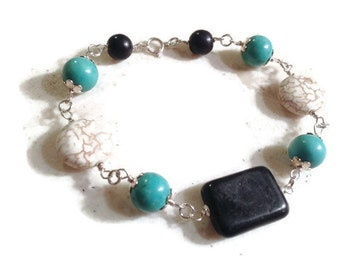 Turquoise Bracelet - Sterling Silver Jewelry - Black & White Gemstone Jewellery - Fashion - Mod
