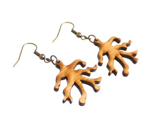 wood earrings - Bamboo Branch - 1 ply. modern nature inspired jewelry. eco friendly