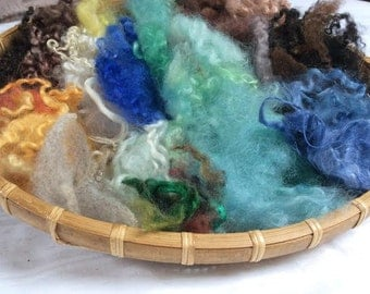 British Rare Breed Wool Locks. Hand Dyed Wool and Silk. Felt Picture making, 57gm Spinning, Blending, Waldorf, Felt. 'Landscape' Colourway