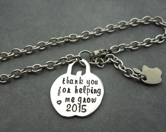 teacher bracelet, thank you for helping me grow, hand stamped stainless steel, apple